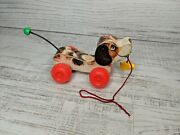 Vintage 1965 Fisher Price Little Snoopy Pull Along Dog Toy Makes Noise
