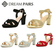 Dream Pairs Women's Ankle Strap Open Toe Chunky Heel Sandals Dress Shoes