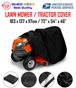 Deluxe Riding Lawn Mower Tractor Cover Yard Garden Fits Decks Up To 54 - Black