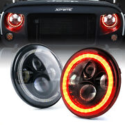 Xprite 7 Led Headlights Red Halo Amber Turn White Hi/lo Beam Lights For 97+jeep