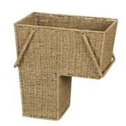 Stair Step Basket Seagrass Wicker Hand-woven With Handle Books Picnic Laundry