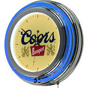 Wall Clock 14 In. Coors Banquet Blue Neon Ring Battery Operated Quartz Mechanism