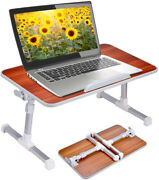 Laptop Bed Table Standard Wood American Cherry Adjustable Height Foldable Legs