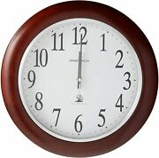 Wall Clock Round With Atomic And Radio Control Movement Windsor Cherry