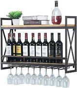 Wine Rack Wall Mount 31.5 In. With 8 Stem Glass Holder Rustic Metal Bronze
