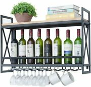 Wine Rack Wall Mount 31.5 In. With 8 Stem Glass Holder Rustic Metal Black