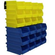 Storage Bins Organizer Plastic 4-1/8 26-piece Yellow And Blue Stackable Hanging