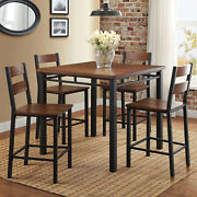 Dining Table And Chairs Set 5-piece Vintage Oak Counter Height Kitchen Furniture
