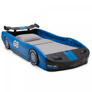 Kids Bed Frame Twin Size Race Car Durable Molded Plastic Bedroom Furniture Blue