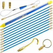 Fish Tape Wire Puller Kit 33and039 Blue Fiberglass Running Rod Coaxial Electrical
