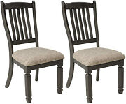 Dining Room Chairs Set Of 2 Antique Black Solid Wood Upholstered Cushioned Seat
