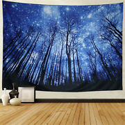 Tapestry Wall Hanging Starry Night Blue Forest X-large Size Galaxy Landscape