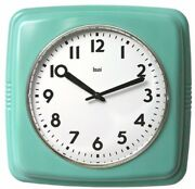 Wall Clock Turquoise Vintage Square Retro Home Kitchen Office Time Decor