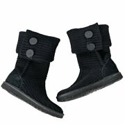 Ugg Classic Cardy Black Button Knit Boots Size 7