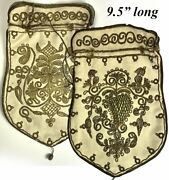 Antique French Metallic Bullion And Silk Embroidery Purse Suede Pouch 18th C.