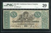 T-21 1861 20 Csa Confederate States Of America Currency Note Pmg Very Fine-20
