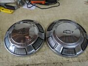 2 Vintage Oem Chevy 60and039s Dog Dish Center Cap / Hubcaps / Wheel Covers