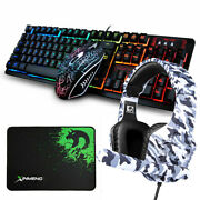 Gaming Keyboard Mouse Headset And Mouse Pad Kit Rainbow Led Backlit Wired For Ps4
