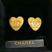Auth Vintage Cc Logo Heart Shape Clip On Earrings Gold Used From Japan Fs