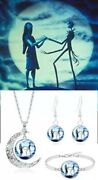 Nightmare Before Christmas Jack And Sally Moon Necklace Bracelet Earring Set