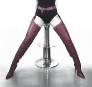 Cq Couture Belt Custum Over The Knee Studs Boots Crotch Italy Leather Red 7 37