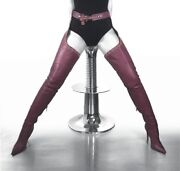 Cq Couture Belt Custum Over The Knee Studs Boots Crotch Italy Leather Red 9 39