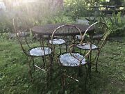 Rare Vintage Iron Childandrsquos Size Ice Cream Parlor Cafe Table Chairs Set