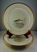 6 Antique Lenox Green Morley Artist Signed Fish Plates Gold Trim All Different
