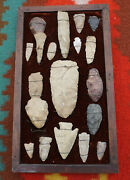 19 Antique Native American Stone Tools Arrowhead Spear Artifact Mixed Lot