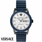 Versace Vedx00319 Theros Automatic White Grey Blue Leather Menand039s Watch New