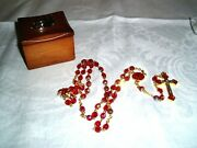 Vintage Religious Ab Faceted Crystal Rosaries W/cross And Wooden Box