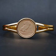 1973 Greece 1 Drachma Athenaand039s Owl And Phoenix Coin Gold Plated Cuff Bracelet New