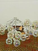 Vtg 22 Pc. Irridescent Glass Hand Wrapped Wire Small Ornaments