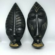 Mid Century-brush Mccoy Pottery-pair Of Black And Gold African Mask Wall Plaques