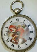 Rare Antique Verge Fusee Silver Pocket Watch. Enamel Dial With Napoleon I