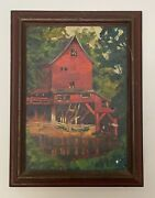 Antique Signed And Framed Original Oil Painting Of Red Mill Nature Scene