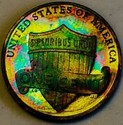 2010 S Pr Rb Lincoln Shield Penny Cent Proof/rainbow Toning. 745
