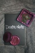 Anime Resin Ashtray Grinder Set Purple With Deathnote Notebookandnbsp