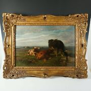 Antique Belgian Oil Painting Of Cows In Pasture By Louis Robbe 1806-1877