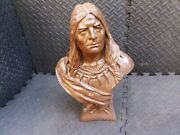 Vintage Cigar Store Indian Bust Chalkware / Plaster 18 Tobacco Statue Americana