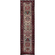 Old Handwoven Runner Rug 3and0396x13and03910