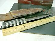 Vintage Hand Made Stiletto Knife Leather And Cellulose Handle Leather Scabbard Hm
