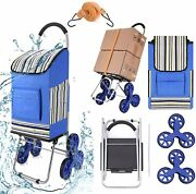 45l 2-in-1 Foldable Shopping Cart Jumbo Basket Hand Truck With 6/8 Stair Wheels