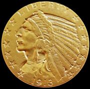 1913 Gold United States 5 Dollar Indian Head Half Eagle Coin