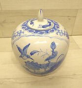 Vintage Chinese Ginger Jar W/ Lid Chinoiseries Blue And White Floral 10andrdquo X 9andrdquo