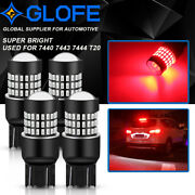 4x 7443 7444 7440 Bright Red Brake Tail Stop Parking Led Light Bulbs For Chevy