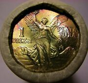 1985 Libertad One Onza Silver Sealed Bank Roll 20 Coins Rainbow Toned End Coin
