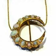 18k Yellow Gold Over Antique Victorian Opal And Diamond Crescent Pendant Necklace