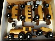 Walnut And Ash Wooden Toy Train Set Amish Made In Usa 34 Nib