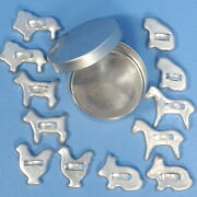 13pc Vtg Toy Mini Cookie Cutter And Tin Horse Dog Chicken Lion Cat Rabbit